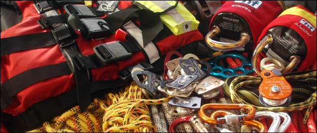 European Swiftwater Rescue Personal and Team Equipment